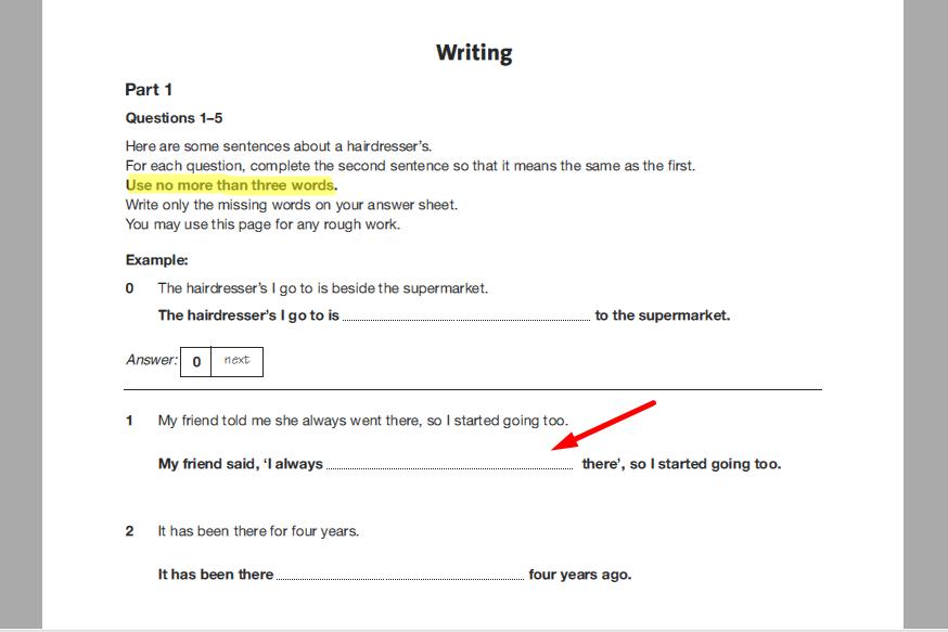 examen de Cambridge - daway inglés - pet writing sample 1