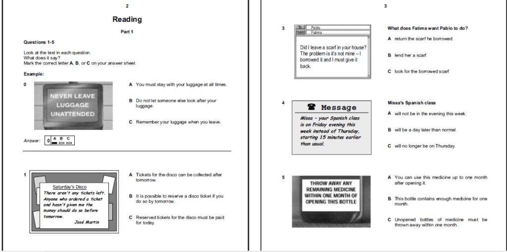 examen de Cambridge B1 PET - daway inglés - reading part 1
