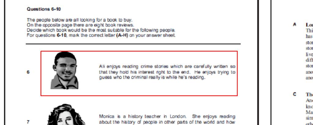 examen de Cambridge B1 PET - daway inglés - reading part 2 2