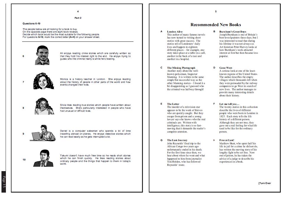 examen de Cambridge B1 PET - daway inglés - reading part 2