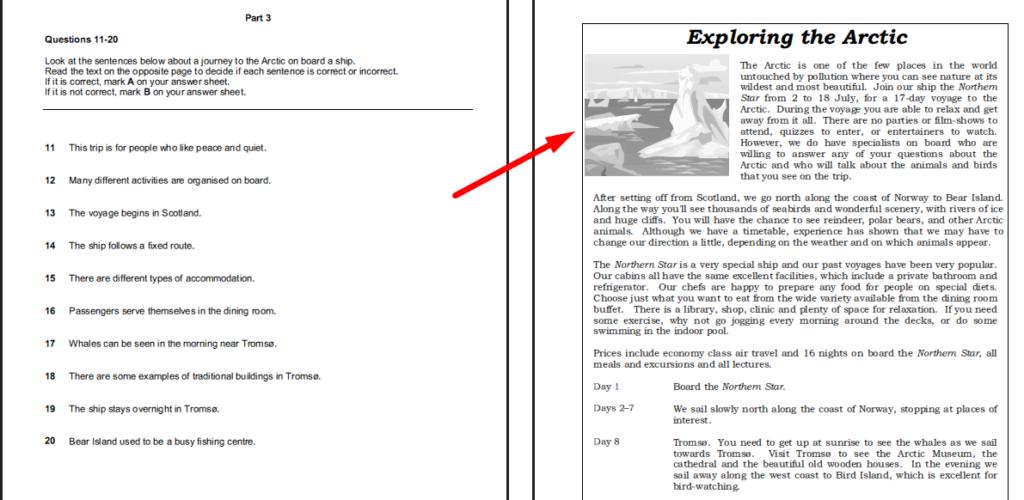 examen de Cambridge B1 PET - daway inglés - reading part 3